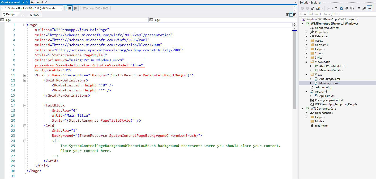 Windows Template Studio main page xaml