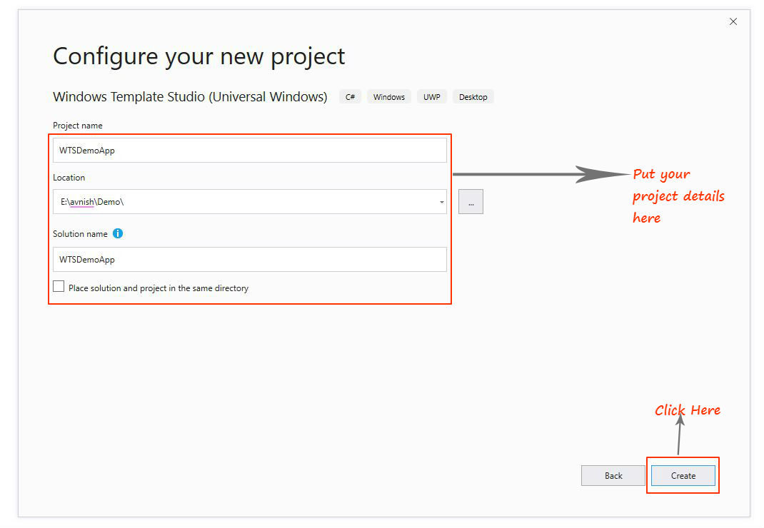 create window template studio project in visual studio 2019