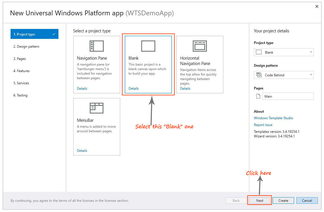 window template studio project types